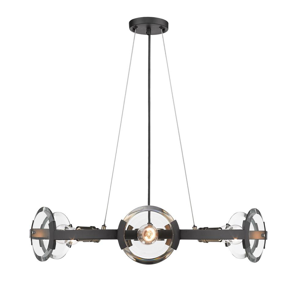 Amari 6 Light Black with Aged Brass Accents Chandelier