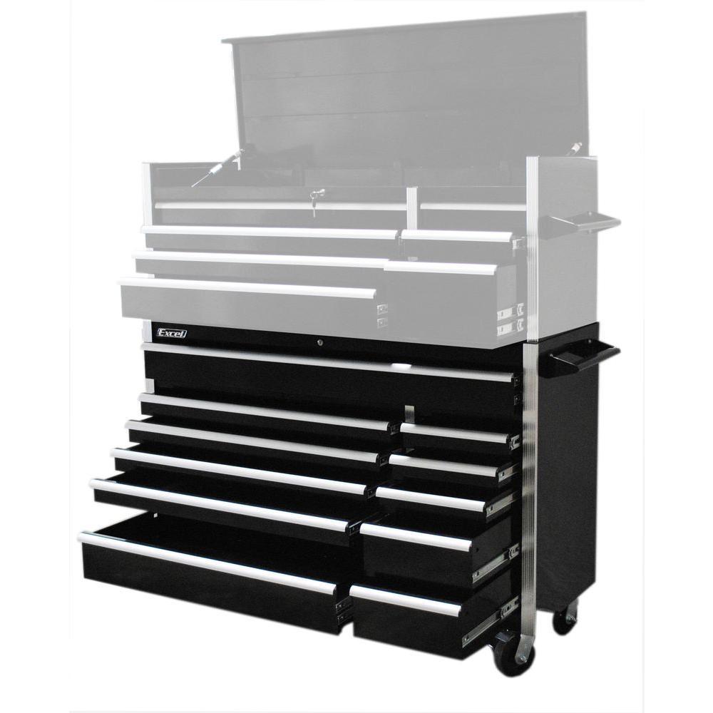 56 in. W x 20.1 in. D x 39.7 in. H Roller Cabinet, Black