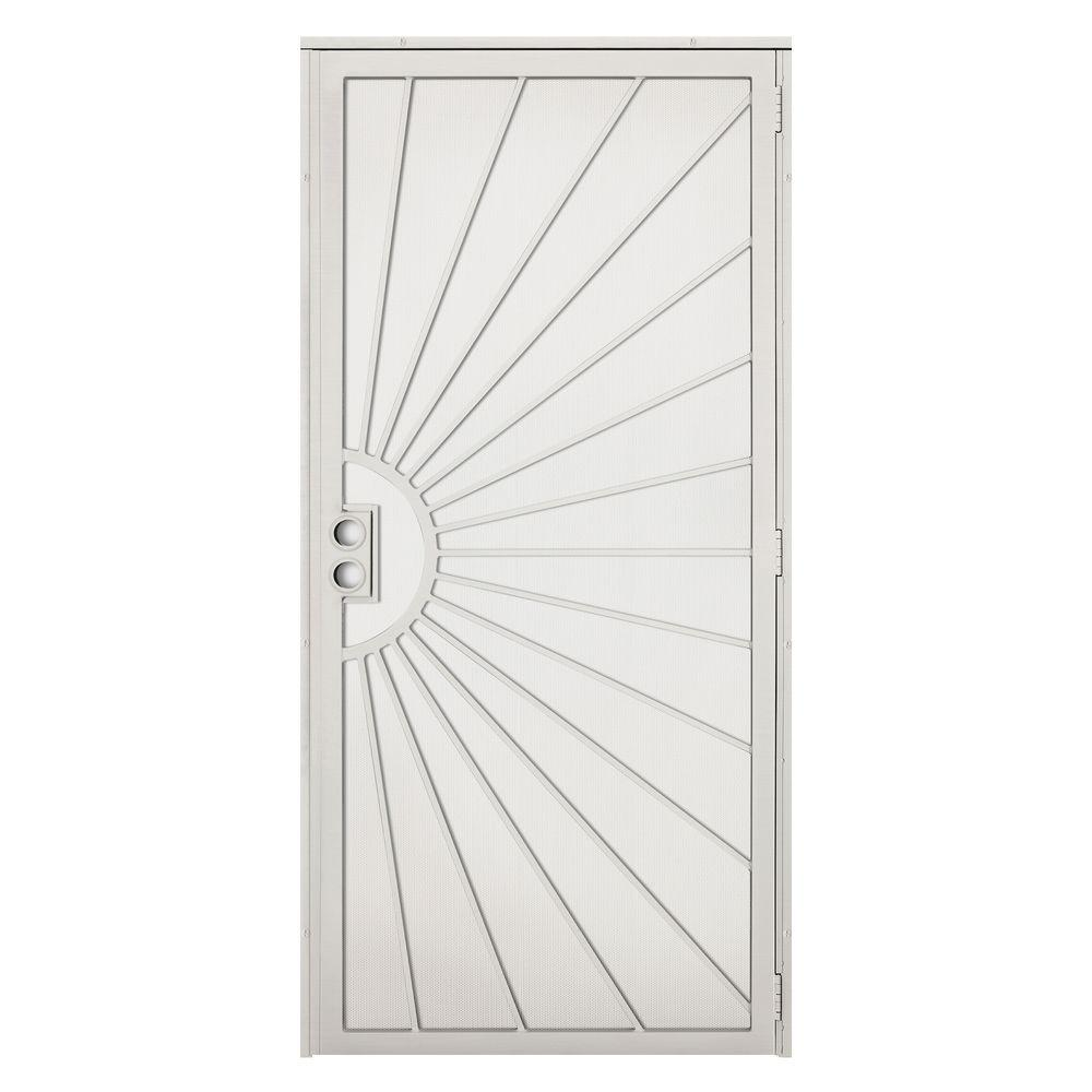 Unique Home Designs 36 in. x 80 in. Solana Navajo White Surface Mount Outswing Steel Security Door with Perforated Metal Screen