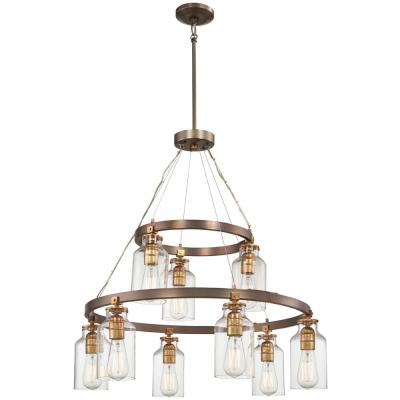Morrow 9-Light Harvard Court Bronze with Gold Highlights Chandelier
