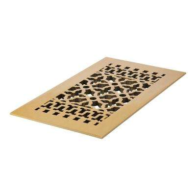 Scroll 14 in. x 6 in. Brass Grille without Mounting Holes, Brass