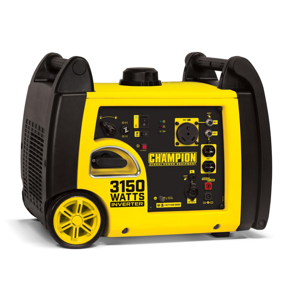 Champion Equipment 3150 Watt Gasoline Ed Recoil Start Inverter Generator With 171 Cc