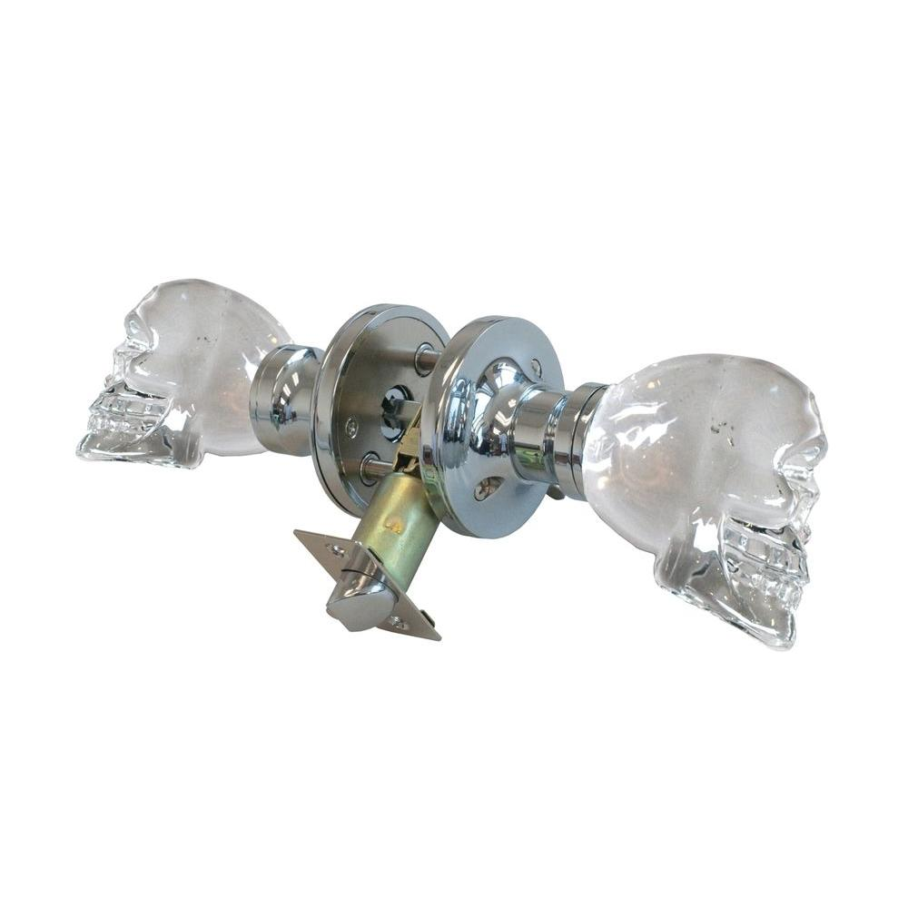 Krystal Touch of NY Skull Crystal Chrome Privacy Door Knob with LED Mixing Lighting Touch Activated
