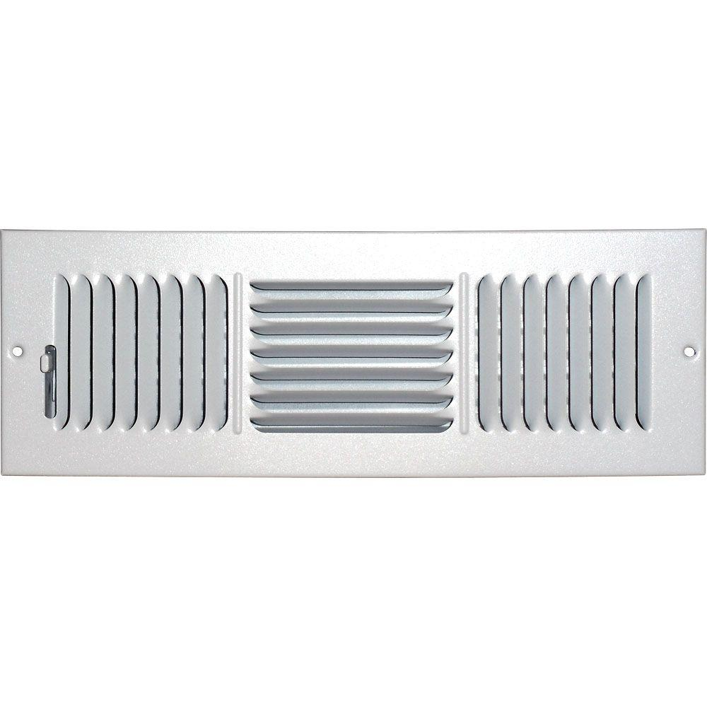 4 in. x 12 in. Ceiling/Sidewall Vent Register, White with 3-Way