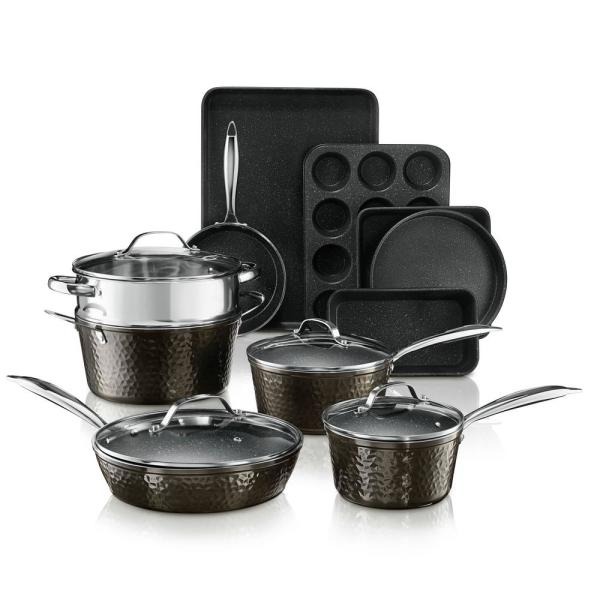 15-Piece Aluminum Hammered Ultra-Durable Non-Stick Diamond Infused Cookware and Bakeware Set