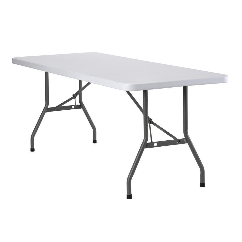2.5 ft. L x 6 ft. W Plastic Folding Table in White