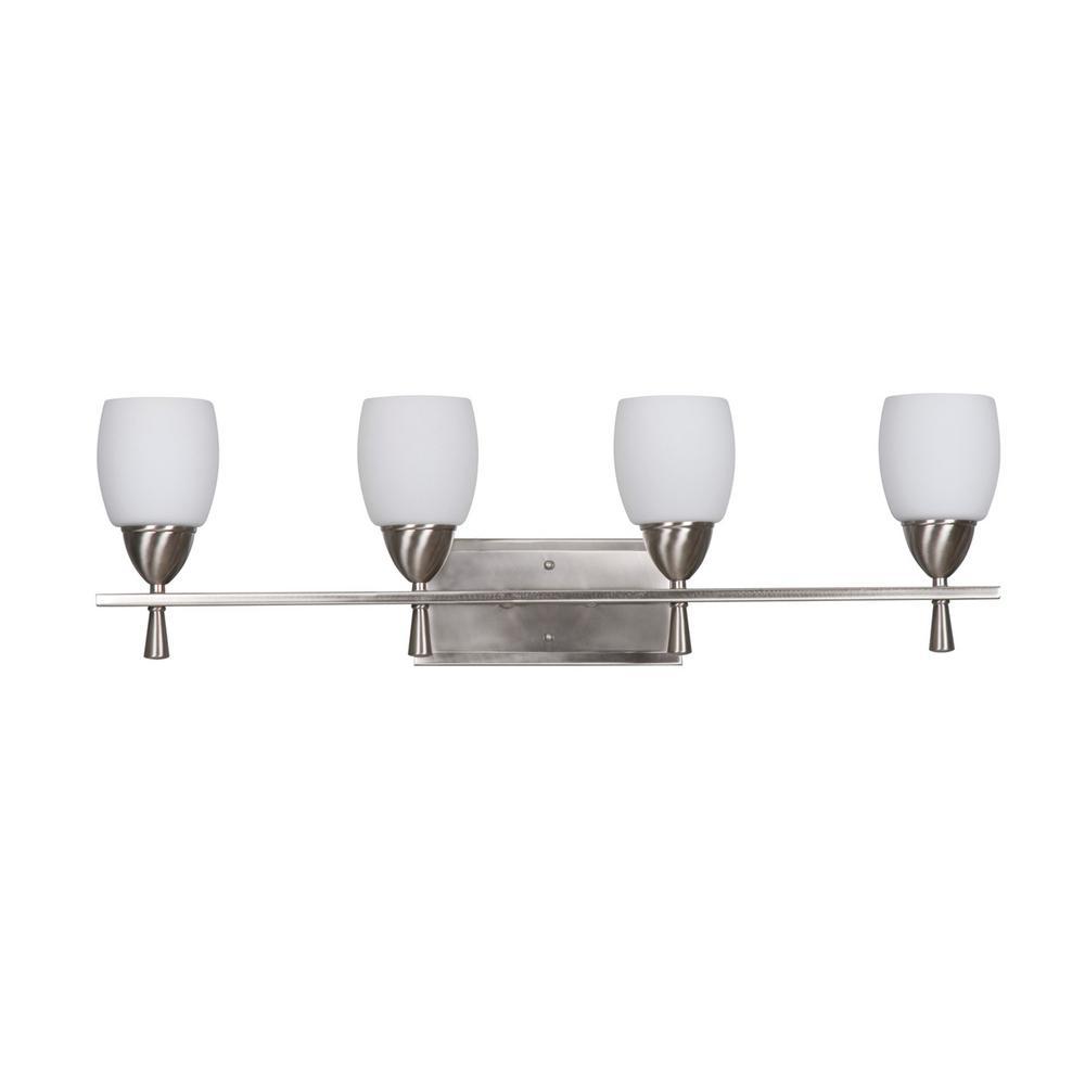 Tech Lighting Home Depot: Radionic Hi Tech Edgewater 4-Light Satin Nickel Bath Light