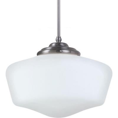 Academy Extra Large 17 in. W. x 12.25 in H. 1-Light Brushed Nickel Pendant with Satin White Glass Shade