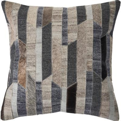 Abstract Beige / Gray Striped Super Soft Poly-fill 20 in. x 20 in. Throw Pillow