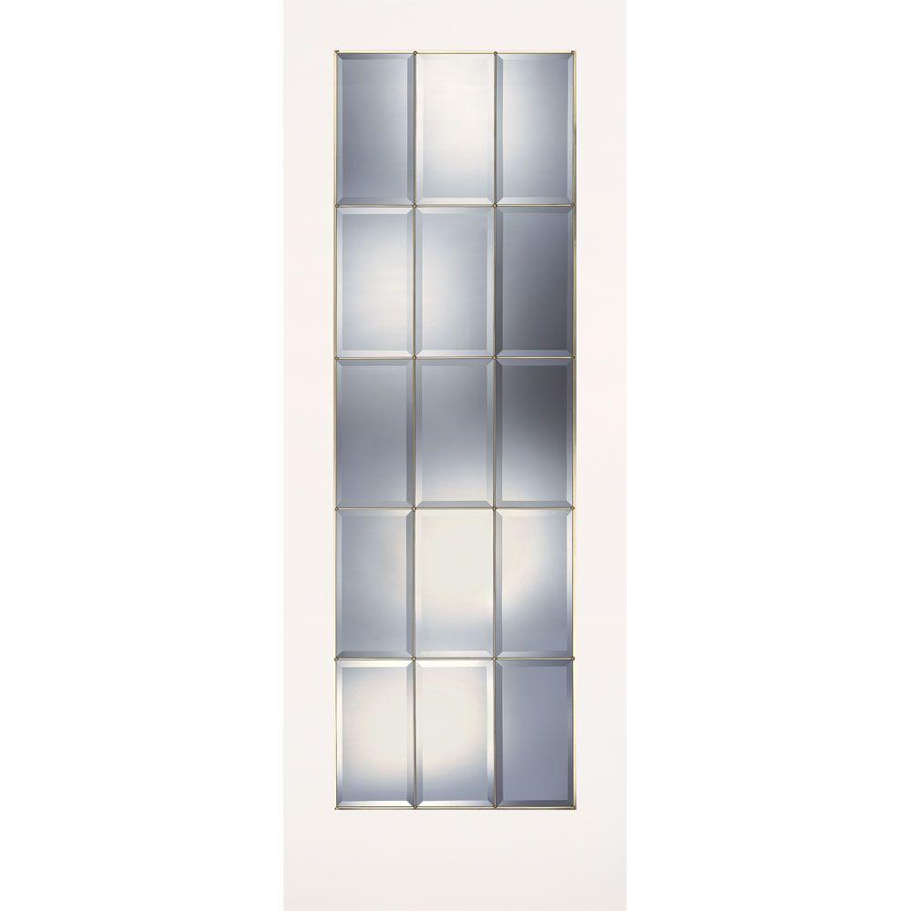 Feather River Doors 36 in. x 80 in. 15 Lite Clear Bevel Brass Smooth Primed MDF Interior Door Slab