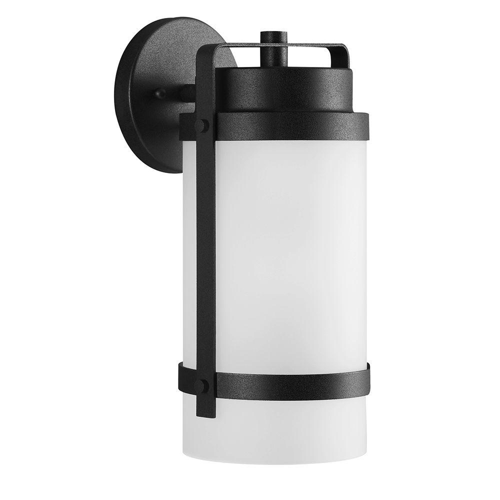 Sea Gull Lighting Bucktown 1-Light Outdoor Black Wall Lantern with Satin Etched Glass
