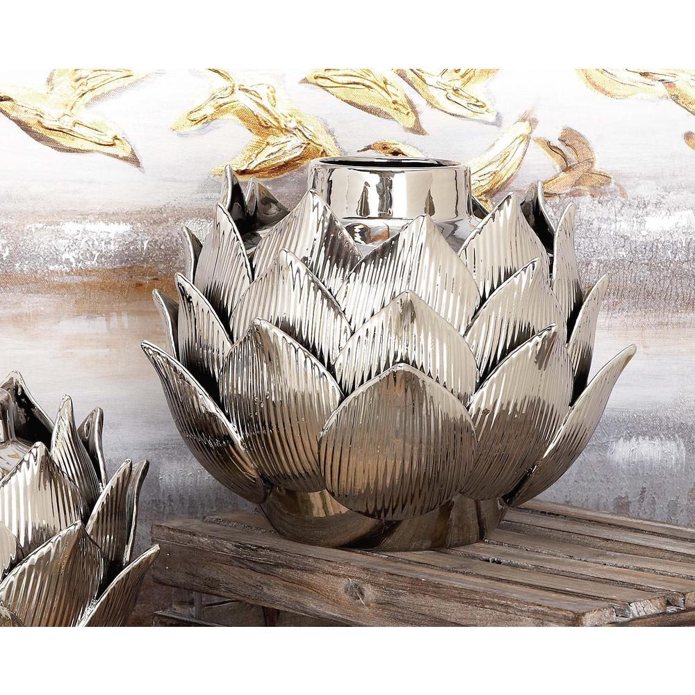 9 in. Ceramic Petals and Bud Decorative Vase in Silver
