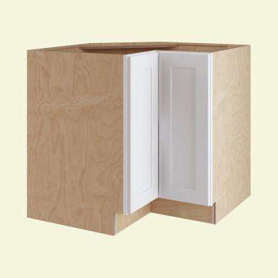 Newport Assembled 36 x 34.5 x 24 in. Base Easy Reach Corner Kitchen Cabinet Right Hand in Pacific White