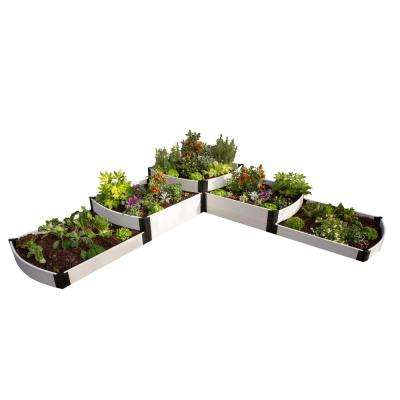 144 in. x 144 in. x 24 in. White Composite Split Waterfall Raised Garden Bed Kit
