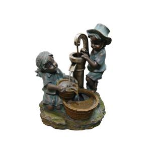 Alpine Polyresin Boy and Girl Fetching Water Fountain by Alpine