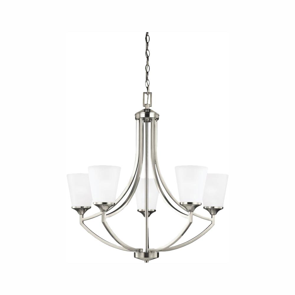 Sea Gull Lighting Hanford 5-Light Brushed Nickel Chandelier with LED Bulbs