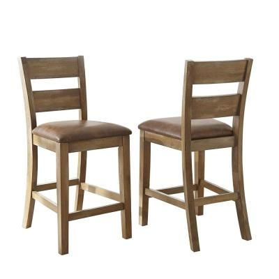 Cambrey 39 in. Brown Counter Chair (Set of 2)