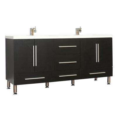 Ripley 67.12 in. W x 20.65 in. D x 33.37 in. H Vanity in Black with Acrylic Vanity Top in White with White Basin