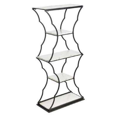 5-Shelf Distressed White and Black Wood and Metal Display