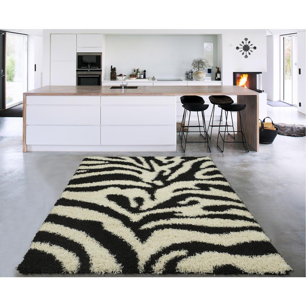 Sweet Home Stores Cozy Shag Collection Black and White 5 ft. x 7 ft. Indoor Area Rug