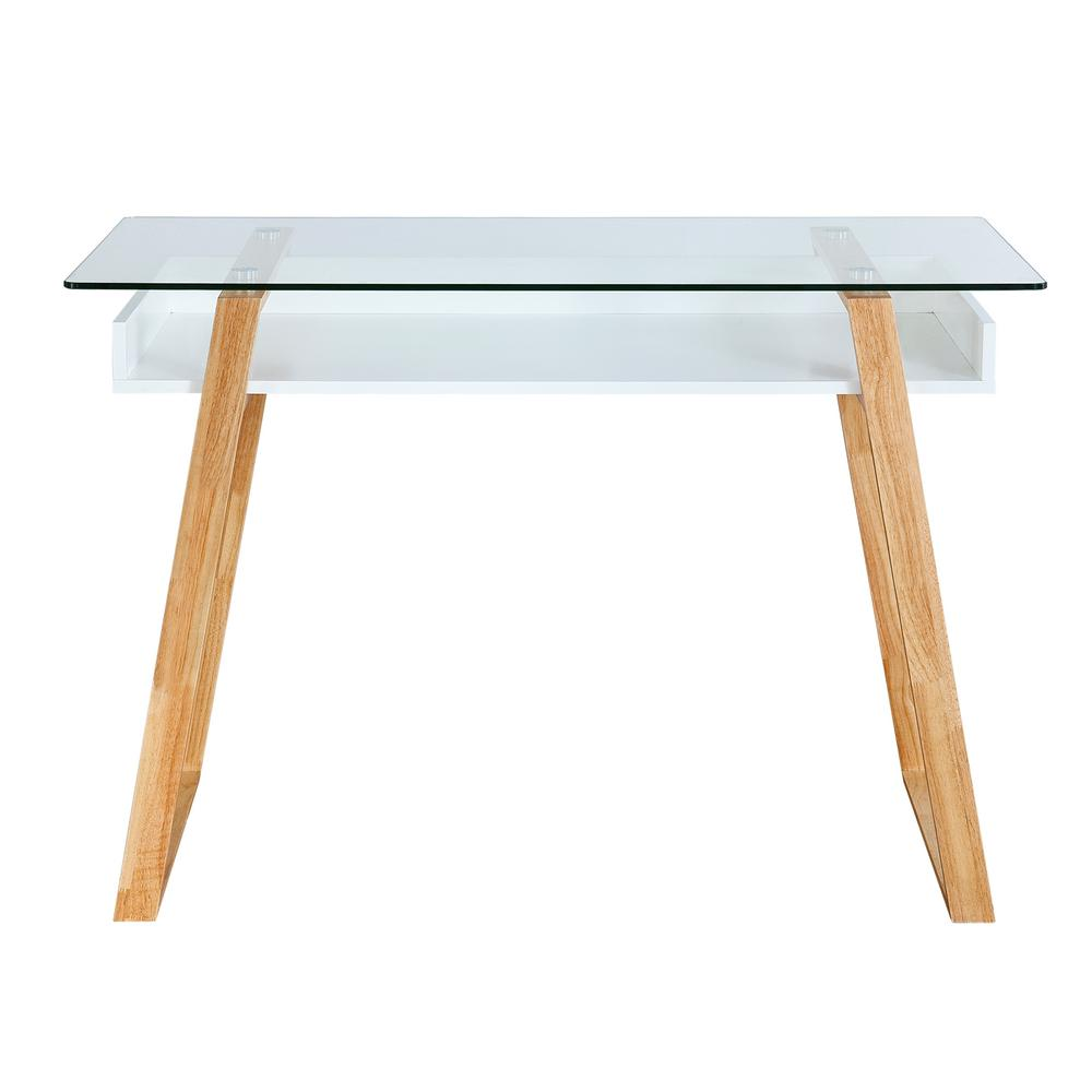 Poly And Bark Segovia Natural Glass Top Desk