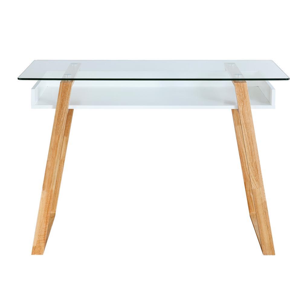 Segovia Natural Glass Top Desk
