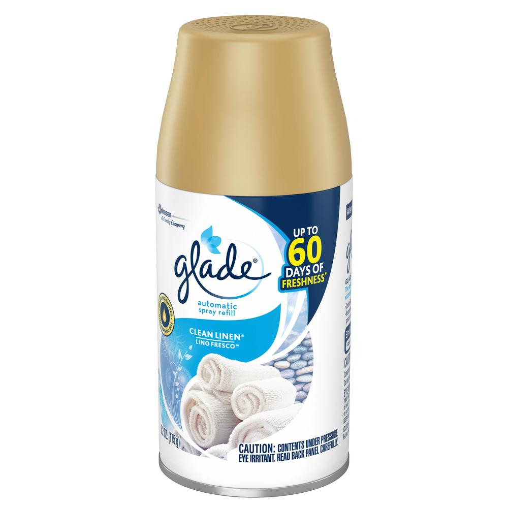 b7c03ebe0ee7 Glade 6.2 oz. Clean Linen Automatic Air Freshener Spray Refill