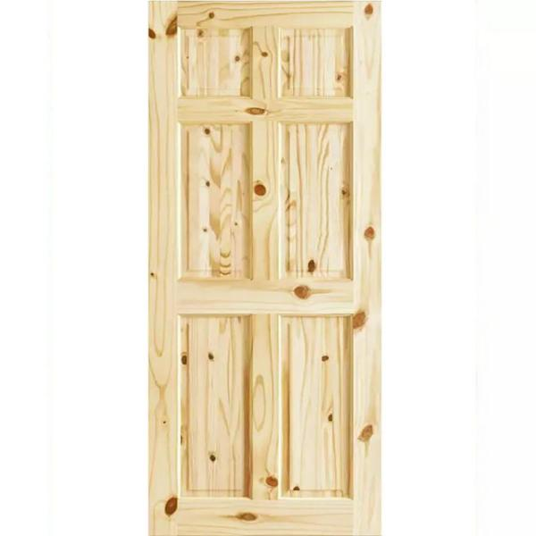 24 in. x 80 in. x 1.375 in. 6-Panel Colonial Double Hip Knotty Wood Interior Door Slab