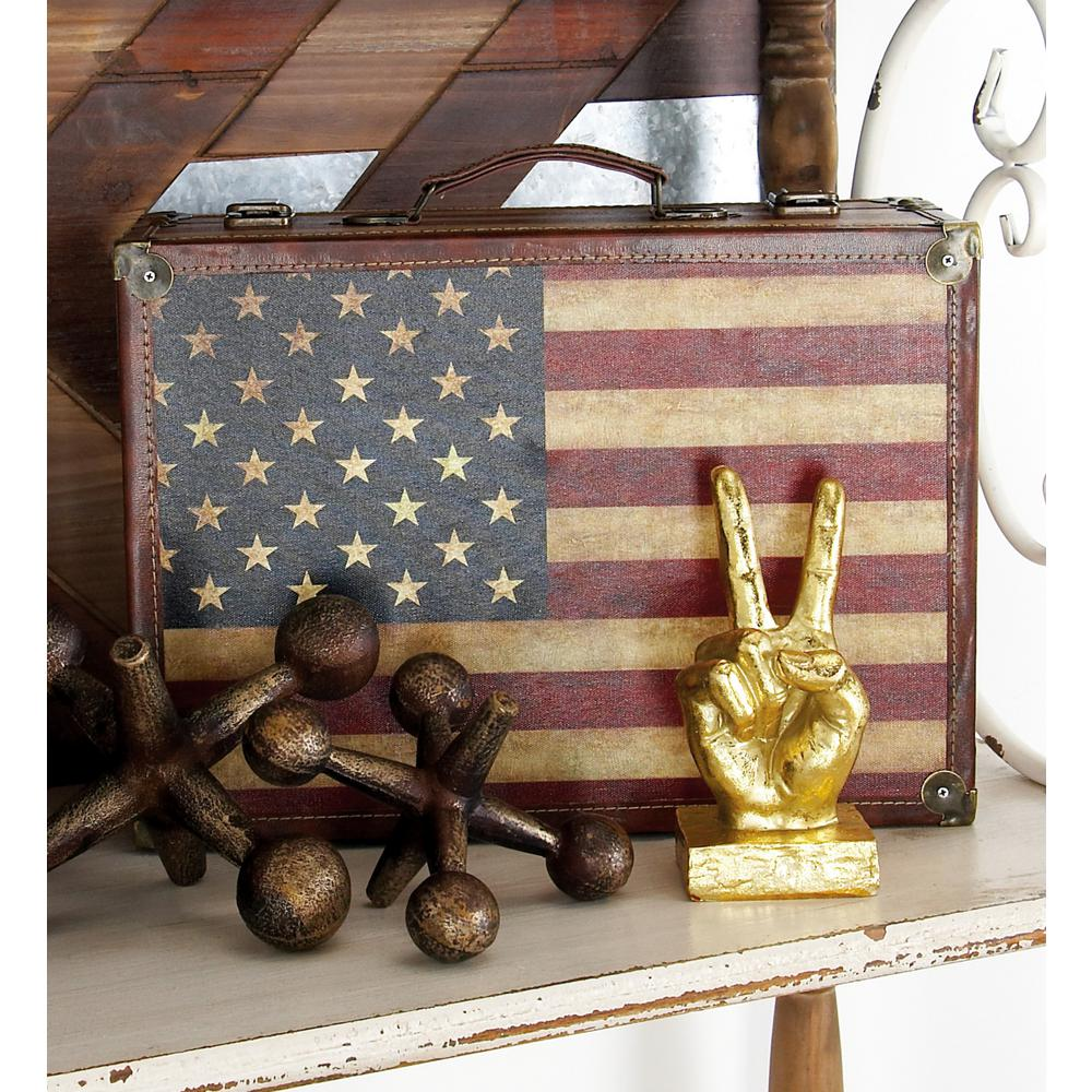 Globetrotter Rectangular Wooden Polyurethane Luggage Boxes with Lids (Set of 2)
