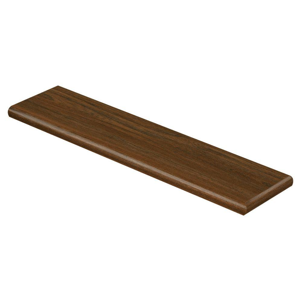 Country Walnut 47 in. Long x 12-1/8 in. Deep x 1-11/16 in. Height Vinyl Right Return to Cover Stairs 1 in. Thick, Wood Grain