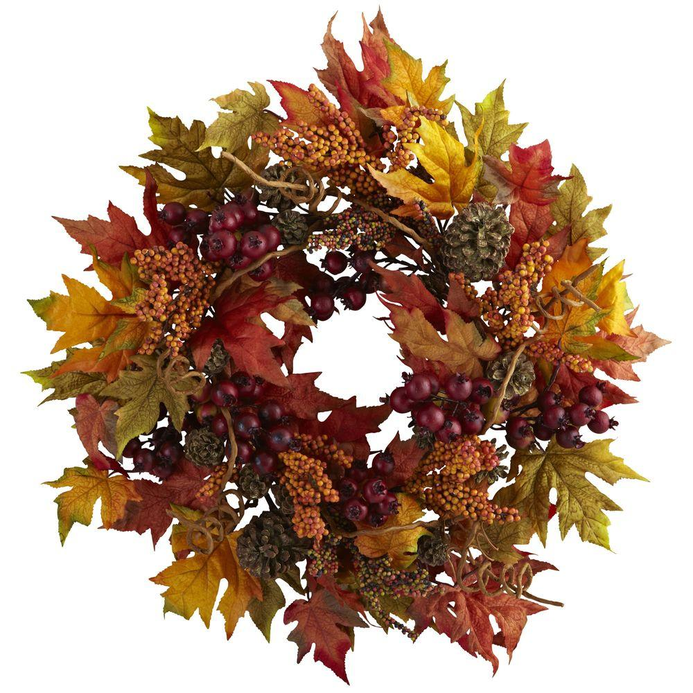 Nearly Natural 24 in. Maple and Berry Wreath