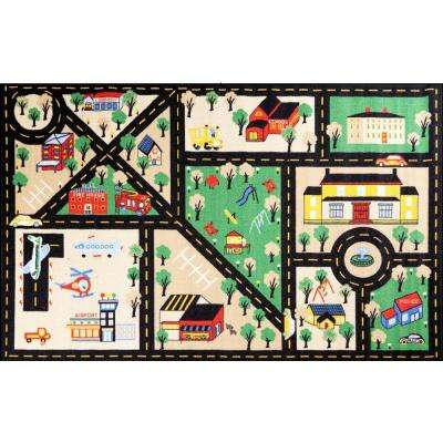 Fun Time City Center Black 3 ft. 3 in. x 4 ft. 7 in. Area Rug