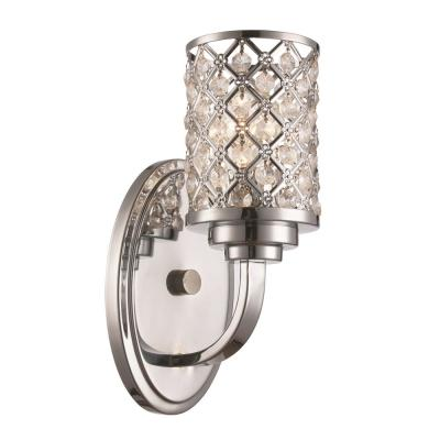 5 in. Polished Chrome Sconce with Crystal Droplets Shade