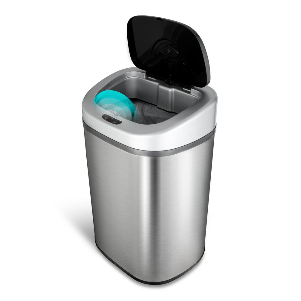 7 9 Gallon Stainless Steel Motion Sensor Trash Can Features A Garbage Bag Retainer Ring To