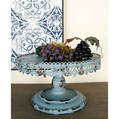 16 in. W x 10 in. H Slate Blue Round Iron Cake Stand with Cutout Bunting Rim Overhang