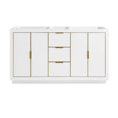 Austen 60 in. Bath Vanity Cabinet Only in White with Gold Trim