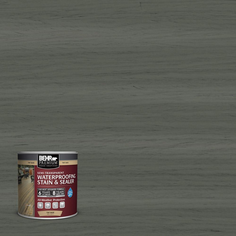 Behr Premium 8 Oz St 131 Pewter Semi Transparent Waterproofing Exterior Wood Stain And Sealer