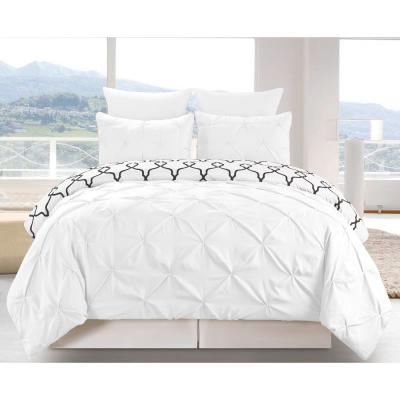 Esy Reversible 3 Piece Duvet Queen Set in White