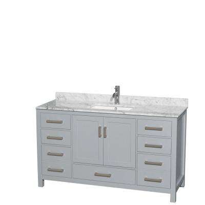 Sheffield 60 in. W x 22 in. D Vanity in Gray with Marble Vanity Top in Carrara White with White Basin