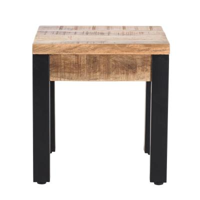 Haydon Black and Natural Wood Color Mango Wood Side Table