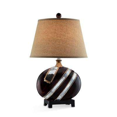 28.5 in. Espresso Kukui Table Lamp with Glass Accent