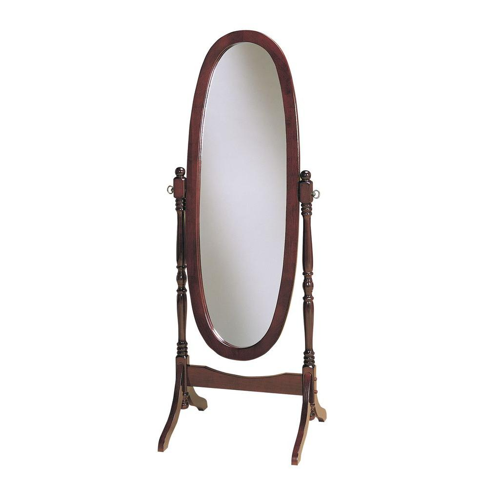 Powell 59.25 in. x 22.5 in. Cherry Wood Framed Cheval Mirror