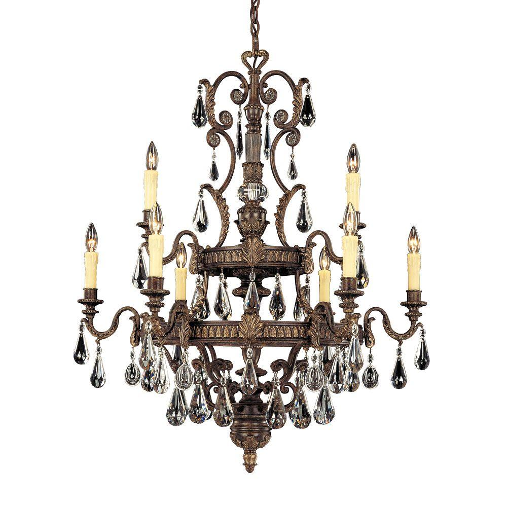 Illumine 9-Light Chandelier Moroccan Bronze Finish Clear Cut Crystals