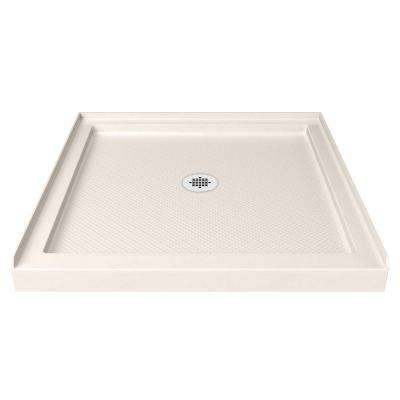SlimLine 32 in. x 32 in. Single Threshold Shower Base in Biscuit
