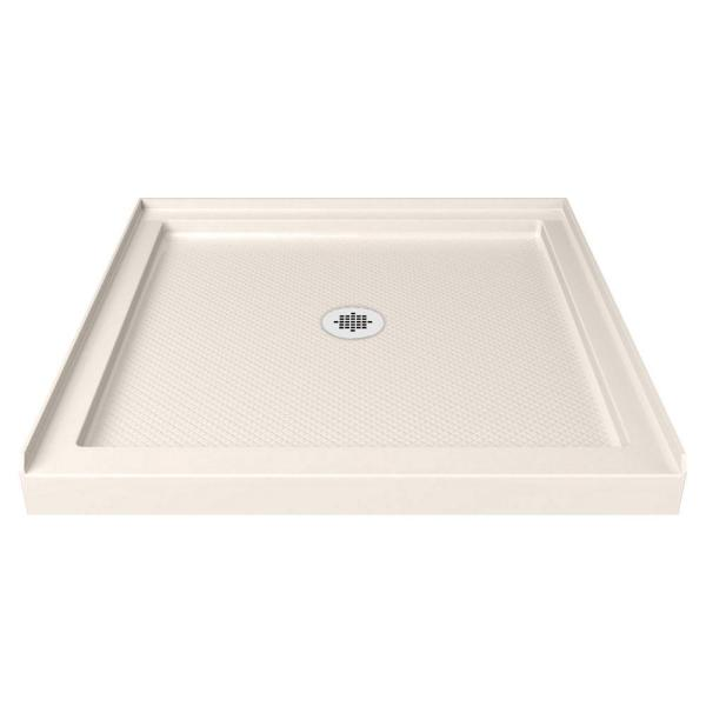 SlimLine 42 in. W x 42 in. D Center Drain Single Threshold Shower Base in White