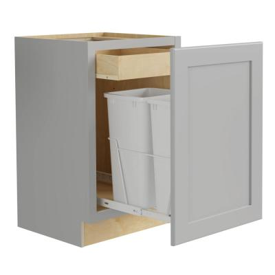 Tremont Assembled 18 x 34.5 x 24 in. Plywood Shaker Double Wastebasket Base Kitchen Cabinet in Painted Pearl Gray