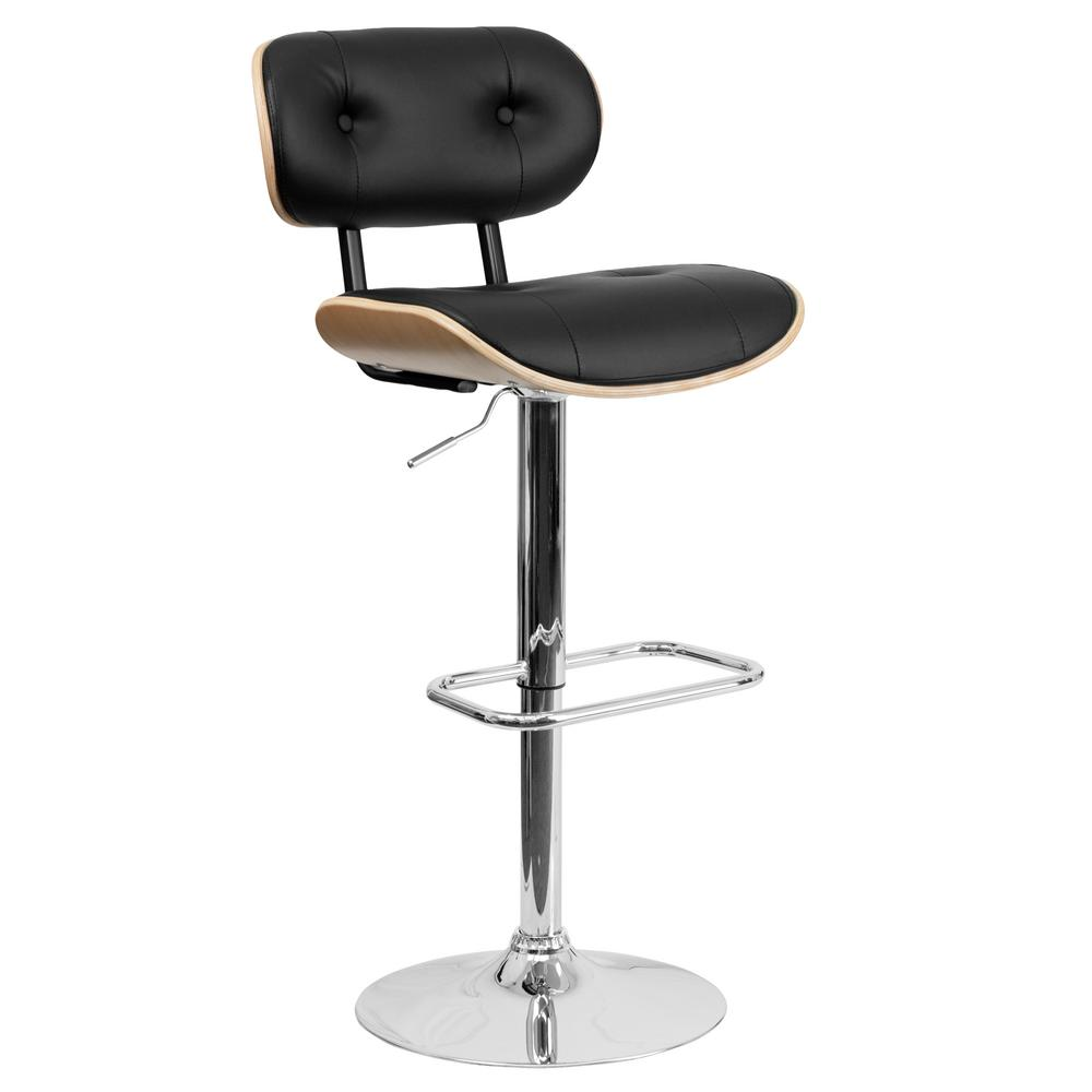 Marvelous Flash Furniture Bentwood Adjustable Height Beech And Black Cushioned Bar  Stool