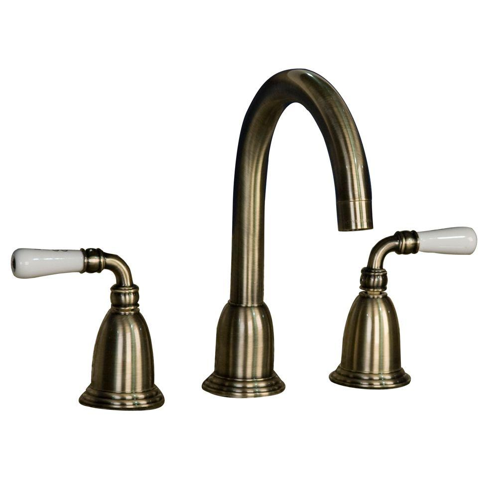 Barclay Products Marcel 8 in. Widespread 2-Handle High-Arc Bathroom Faucet in Antique Brass-DISCONTINUED