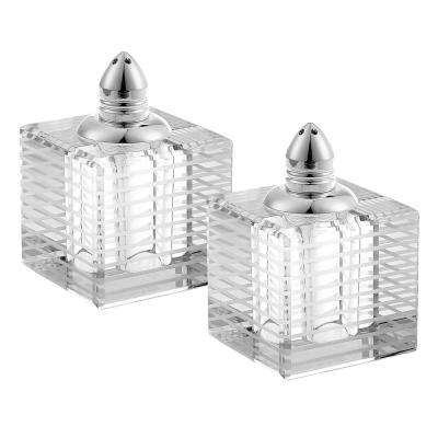 Handmade Lead Free Crystal Pair Salt and Pepper Clear Pinstripes Square Tall with Platinum Tops