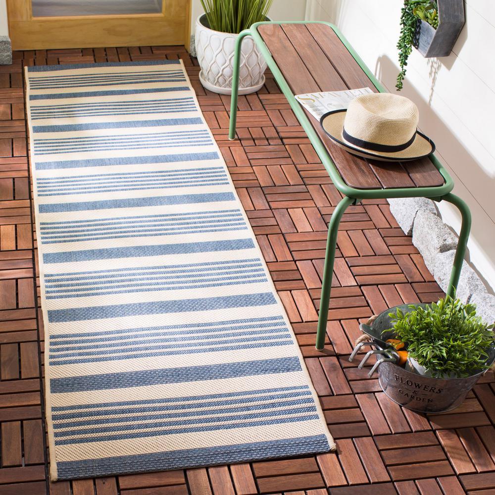 Safavieh Courtyard Beige Blue 2 Ft X 8 Ft Indoor Outdoor Runner Rug Cy6062 233 28 The Home Depot